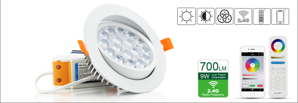 9W RGB+CCT LED Ceiling Spotlight