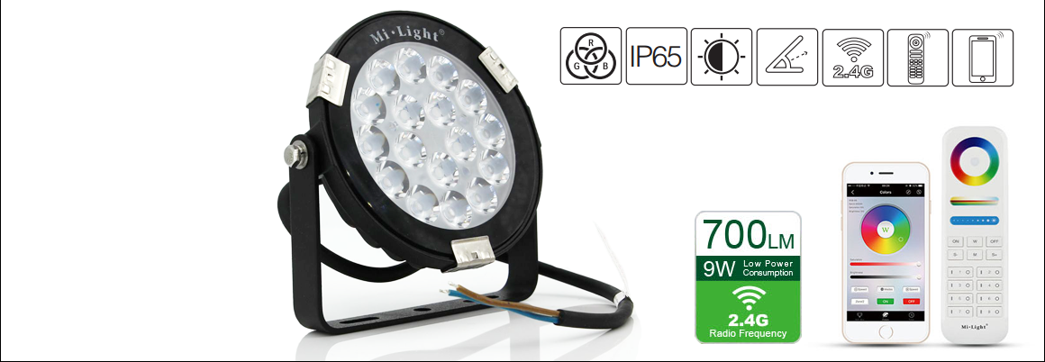 Waterproof IP65 9W RGB+CCT LED Garden Light